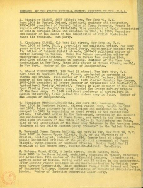 Lista członków IV Rady Narodowej RP w Nowym Jorku.