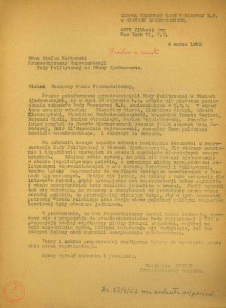 List Stanisława Gierata, przewodniczącego zespołu członków IV RP w Nowym Jorku do Stefana Korbońskiego, przewodniczącego Reprezentacji Rady Politycznej na Stany Zjednoczone, 4 marca 1952r.