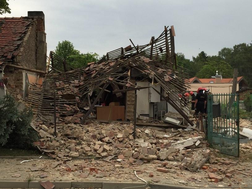 Dom zniszczony po wybuchu w Łodzi /Agnieszka Wyderka /RMF FM