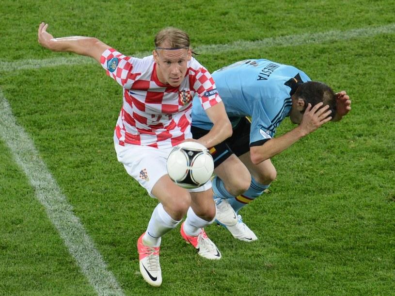 Domagoj Vida w barwach reprezentacji Chorwacji w meczu z Hiszpanią podczas Euro 2012 /AFP