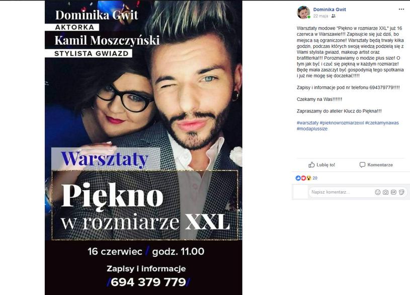 Dominika Gwit zaprasza dziewczyny w rozmiarze XXL na warsztaty /Facebook /materiały prasowe