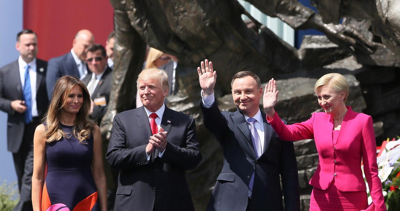 Donald Trump na pl. Krasińskich w Warszawie