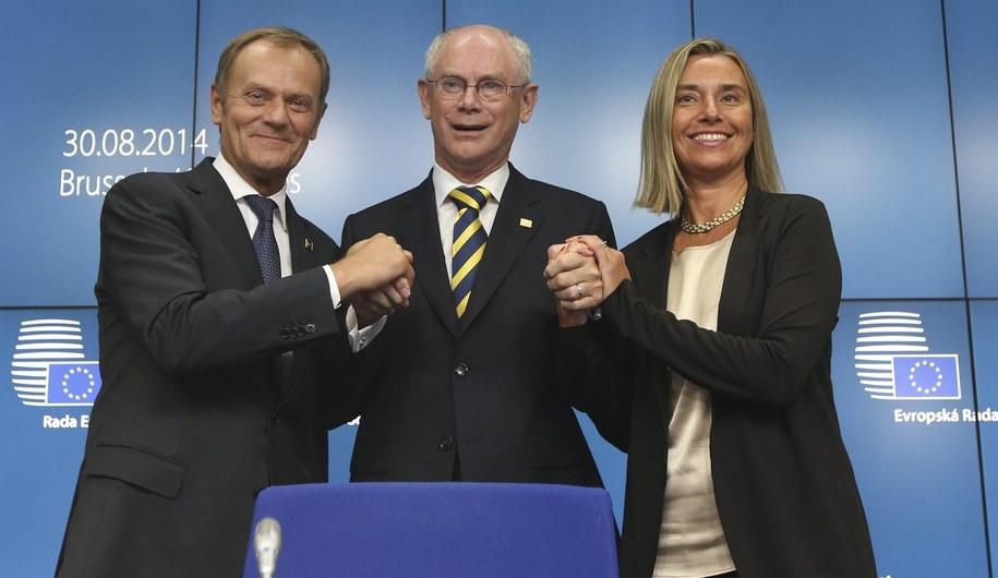Donald Tusk, Herman van Rompuy i Federica Mogherini /OLIVIER HOSLET /PAP/EPA