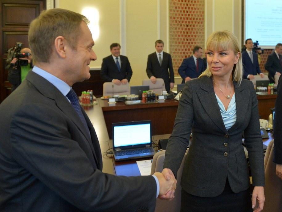 Donald Tusk i Elżbieta Bieńkowska /Radek Pietruszka /PAP