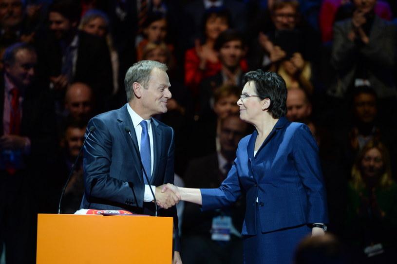 Donald Tusk i Ewa Kopacz /Jacek Turczyk /PAP