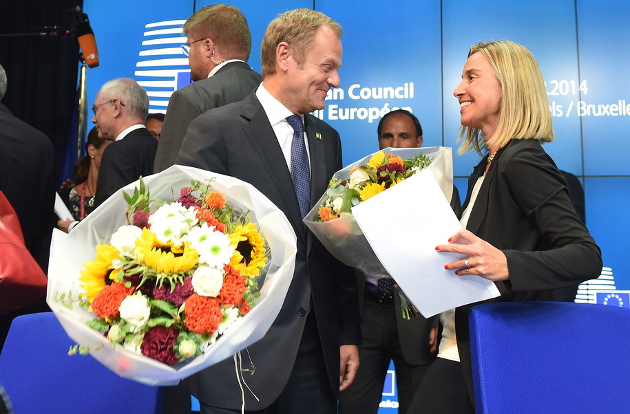 Donald Tusk i Federica Mogerhini /Radek Pietruszka /PAP