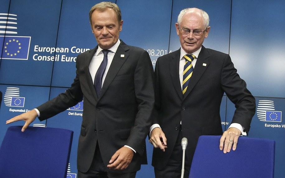 Donald Tusk i Herman van Rompuy /OLIVIER HOSLET (PAP/EPA) /PAP/EPA