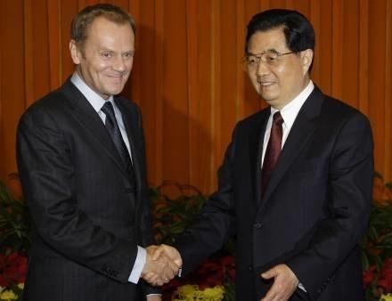 Donald Tusk i Hu Jintao /AFP