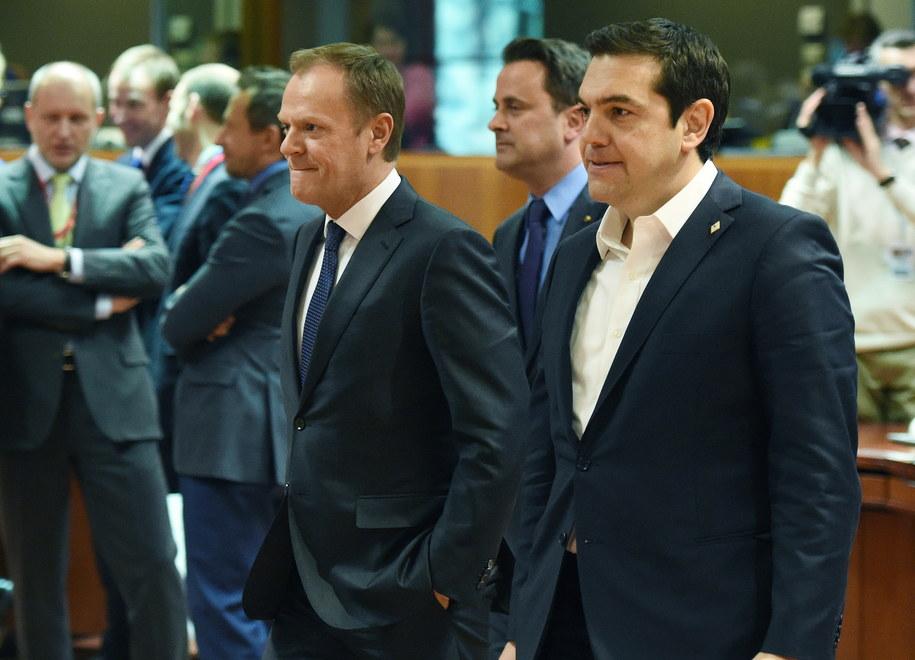 Donald Tusk i premier Grecji Aleksis Tsipras /Radek Pietruszka /PAP