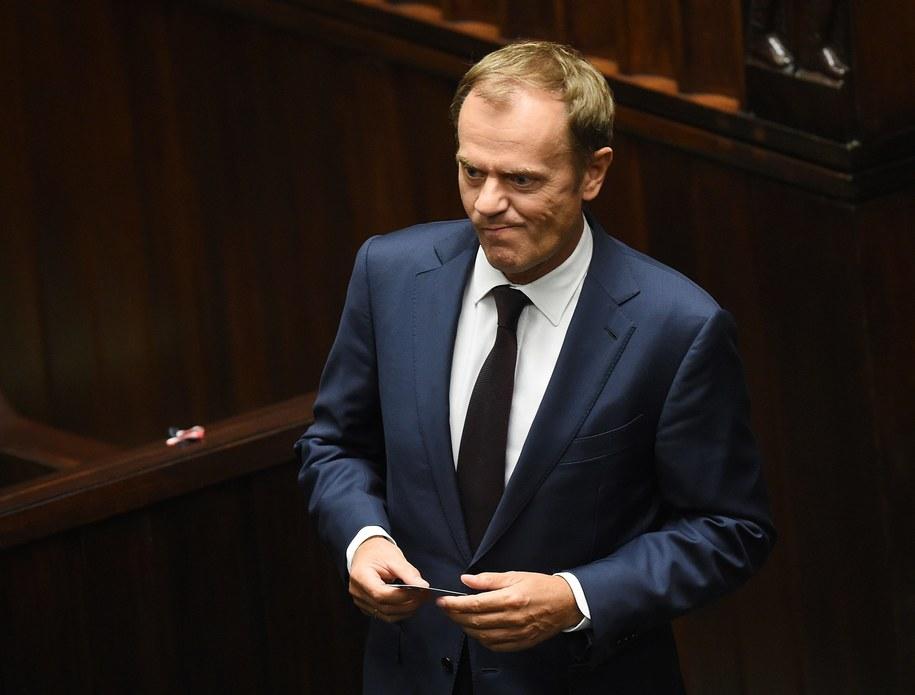 Donald Tusk w polskim Sejmie /Radek Pietruszka /PAP