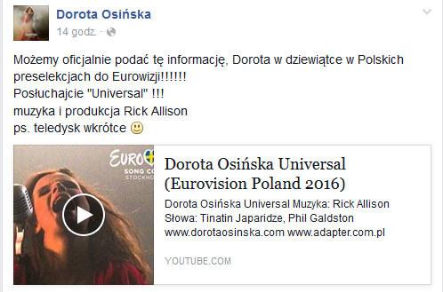 Dorota Osińska na Facebooku /