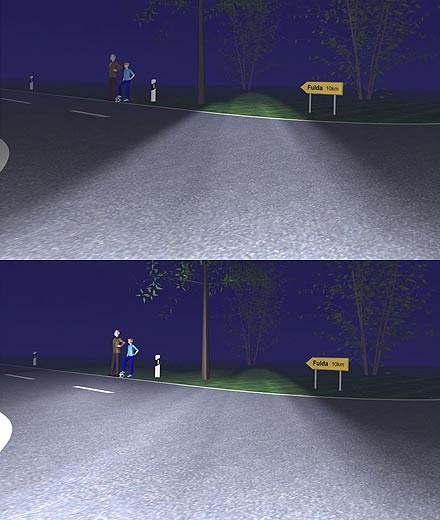 Doskonale widać różnicę pomiędzy światłem AFL i standardowych reflektorów (kliknij) /INTERIA.PL