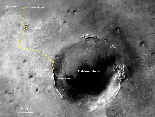 Dotychczasowa trasa łazika Opportunity na Marsie. /NASA
