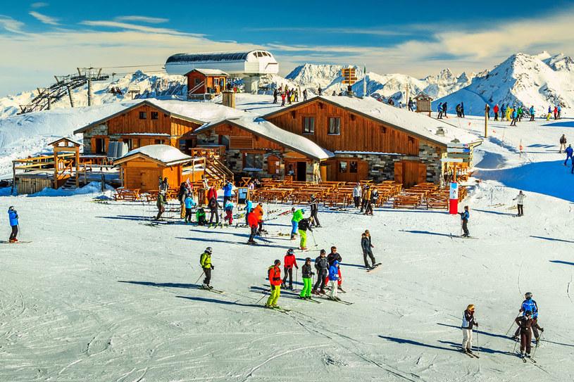 Drewniane domki i stoki narciarskie w Alpach francuskich /123RF/PICSEL