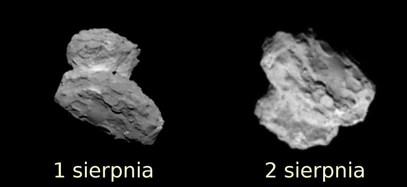 Dwa obrazy komety 67P uzyskane w dniach 1 i 2 sierpnia 2014. /materiały prasowe