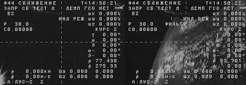 Dwa obrazy z wirującego Progressa M-27M. /NASA