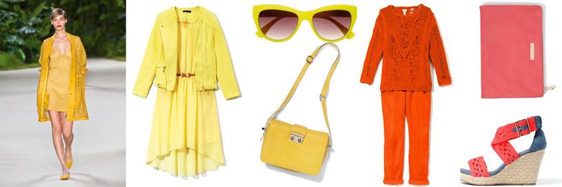 Dwudziestolatki do ubrań w intensywnych barwach mogą dodać wyrazisty makijaż | żakiet Mohito | sukienka House | okulary C&A | torebka Solar | sweter, spodnie, kopertówka H&M | sandały Sinsay /Twój Styl