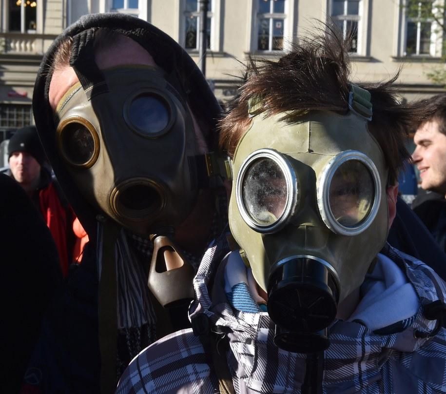 Działacze organizacji zrzeszonych w inicjatywie Polski Alarm Smogowy /Jacek Bednarczyk /PAP