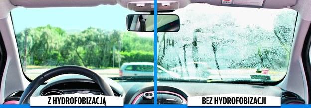 Dzięki nałożeniu na szybę warstwy nanopreparatu powierzchnia szkła staje się gładsza. W efekcie krople wody z dużą łatwością spływają po szybach. Jadąc samochodem z prędkością wynoszącą ok. 80 km/h podczas deszczu możemy rzadziej używać wycieraczek. Szyba jest też odporniejsza na osadzanie się brudu. /Motor