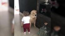 Dziewczynka pożegnała się przed wyjściem