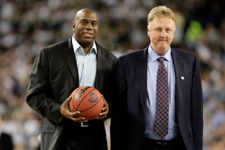 "Earvin ""Magic"" Johnson i Larry Bird/fot. Andy Lyons /Getty Images/Flash Press Media"