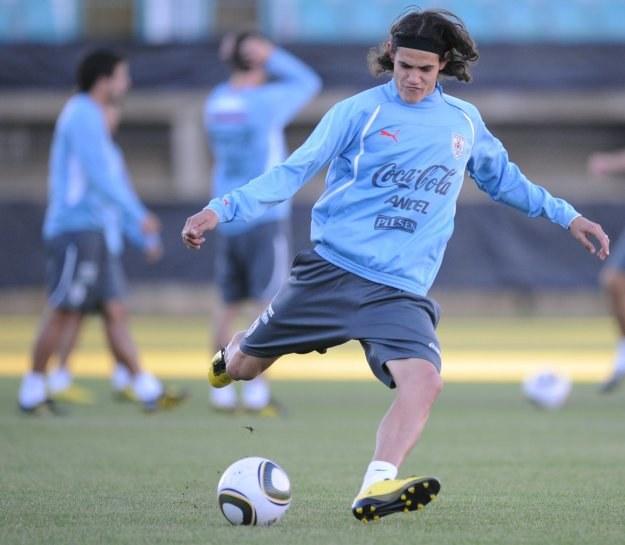 Edinson Cavani na treningu reprezentacji Urugwaju /AFP