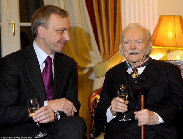 Edmund Niziurski (P) z Bogdanem Zdrojewskim w 2008 roku/fot. D. Brykczyński /Reporter