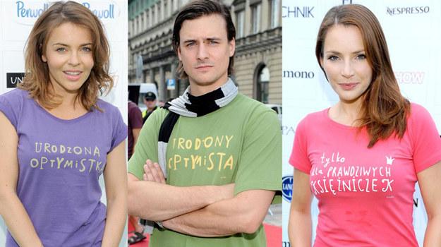Edyta Herbuś, Mateusz Damięcki oraz Anna Dereszowska w koszulkach zaprojektowanych przez Szymona Majewskiego /fot  /Agencja W. Impact
