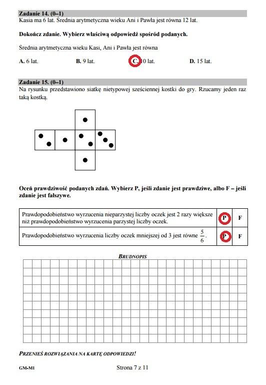 Egzamin gimnazjalny 2016 – matematyka, Zadania 14-15 /