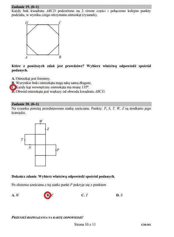 Egzamin gimnazjalny 2016 – matematyka, Zadania 19-20 /