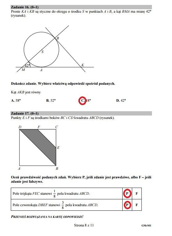 Egzamin gimnazjalny 2016 – matematyka, Zadanie 16-17 /