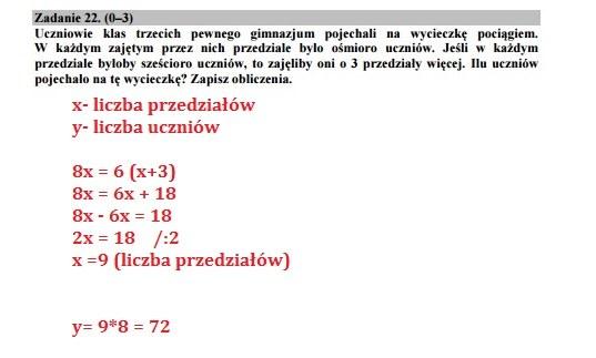 Egzamin gimnazjalny 2016 – matematyka, Zadanie 22 /