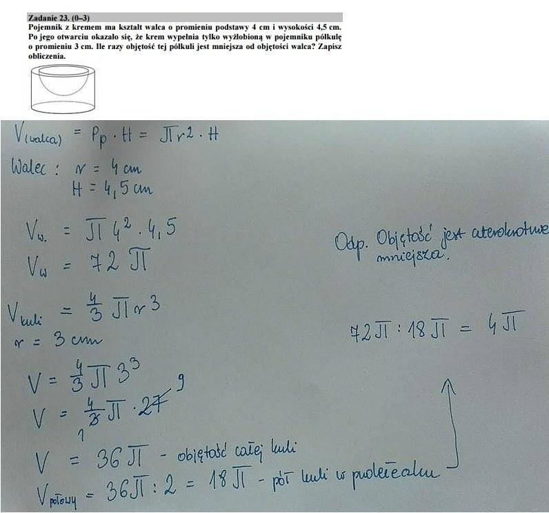 Egzamin gimnazjalny 2016 – matematyka, Zadanie 23 /
