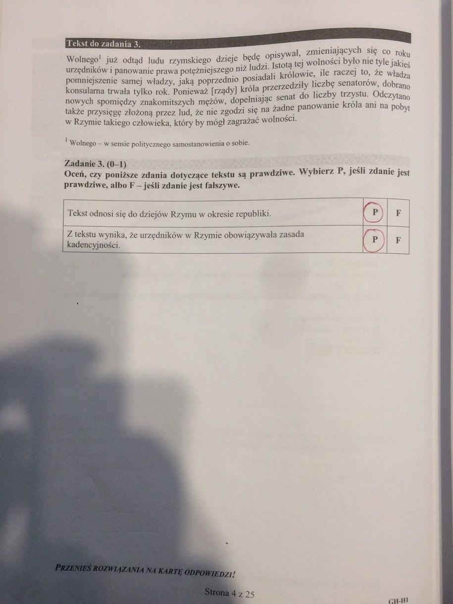Egzamin gimnazjalny 2016. Rozwiązania /RMF FM