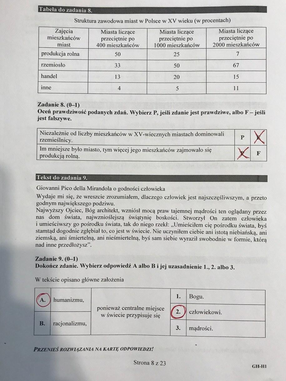 Egzamin gimnazjalny 2017 - przykładowe rozwiązania /RMF FM