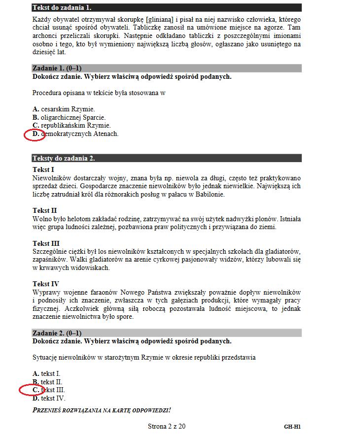 Egzamin gimnazjalny 2018. Historia i WOS /INTERIA.PL