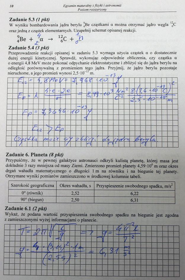 Egzamin maturalny z fizyki - poziom rozszerzony. Arkusz i odpowiedzi /INTERIA.PL