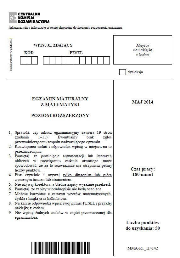 Egzamin maturalny z matematyki - poziom rozszerzony /