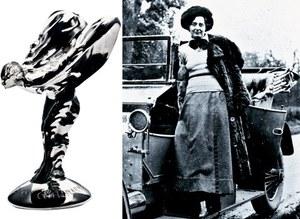 """Eleanor Thornton przy samochodzie Rolls-Royce i jako """"Spirit of Ecstasy"""". /Rolls-Royce"""