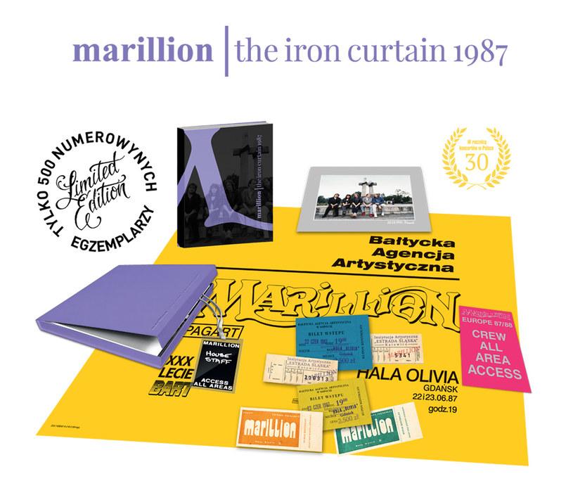 """Elementy boxu """"Marillion. The Iron Curtain 1987"""" /materiały promocyjne"""