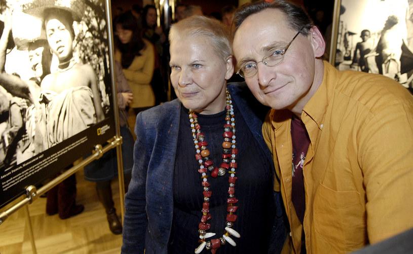 Elżbieta Dzikowska z podróżnikiem i dziennikarzem Wojciechem Cejrowskim w 2008 roku /AKPA