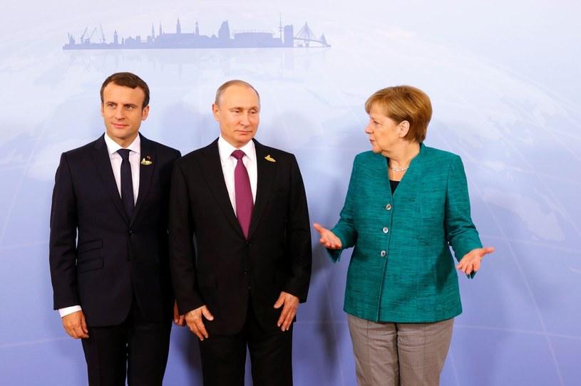 Emmanuel Macron, Władimir Putin i Angela Merkel. Na zdjęciu brakuje jedynie Petra Poroszenki /AFP