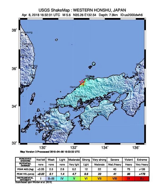 Epicentrum trzęsienia znajdowało się w prefekturze Shimane /USGS / HANDOUT /PAP/EPA
