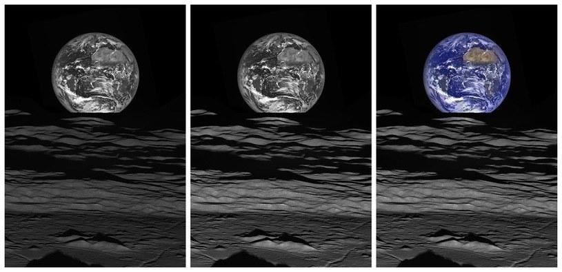 Etapy obróbki zdjęcia, po lewej naturalny kontrast, w środku ppodniesiona jasność powierzchni księżyca, po prawej dodany kolor z kamery WAC /NASA