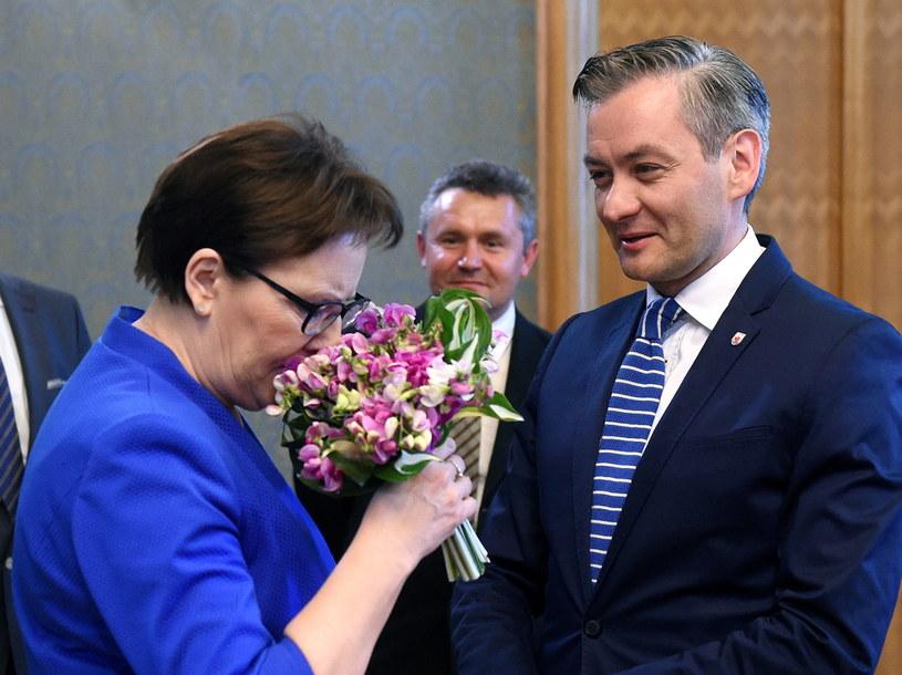 Ewa Kopacz i Robert Biedroń /Radek Pietruszka /PAP