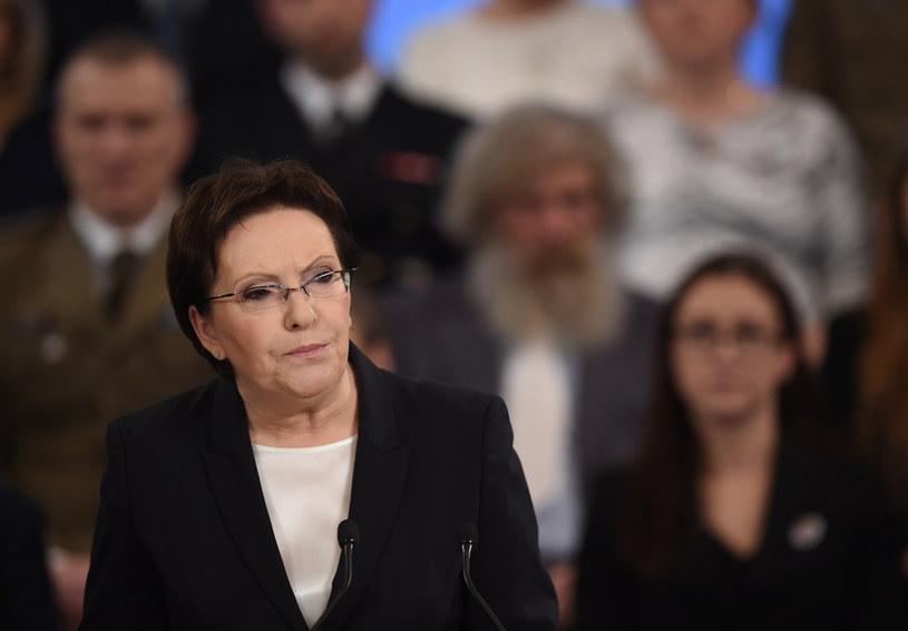 Ewa Kopacz podczas wystąpienia /Radek Pietruszka /PAP