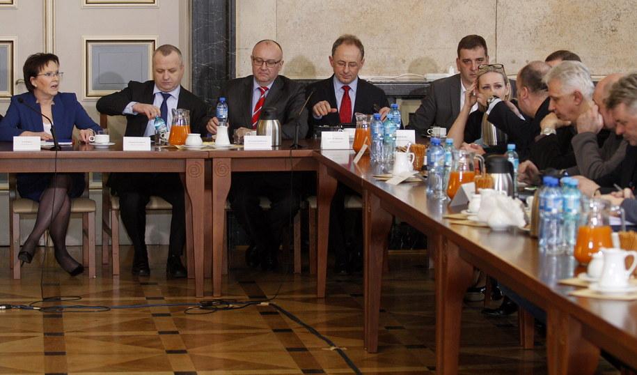 Ewa Kopacz przyjechała do Katowic na spotkanie z górnikami /Andrzej Grygiel   (PAP) /PAP