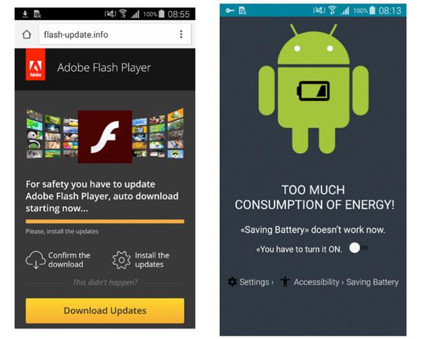Fałszywa aktualizacja Adobe Flash Player (z lewej) i informacja o rzekomym zbyt dużym zużyciu energii /materiały prasowe