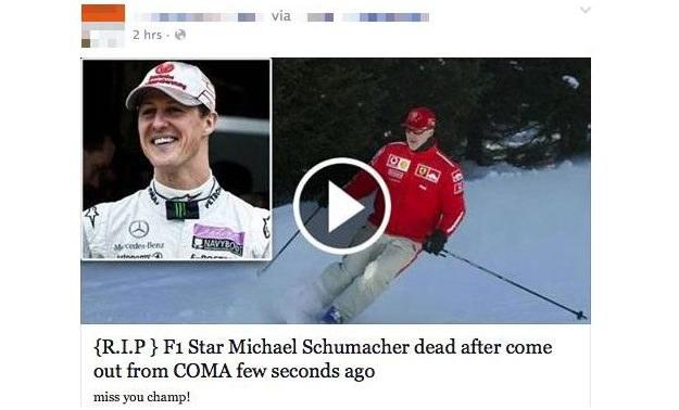 Fałszywa informacja o śmierci Schumachera to kolejne oszustwu /materiały prasowe
