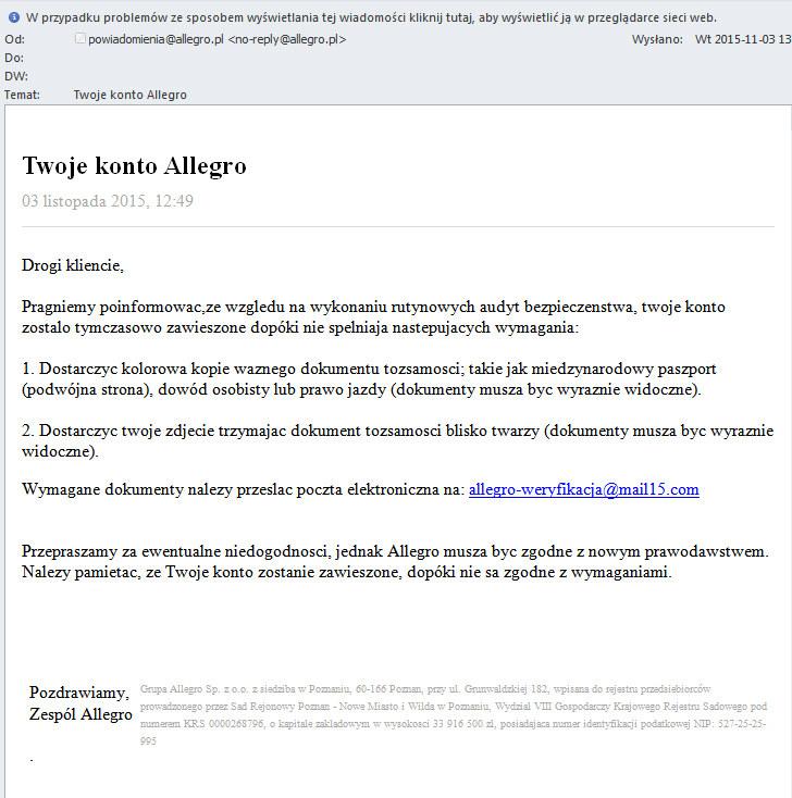 Fałszywa wiadomość adresowana do użytkowników Allegro /materiały prasowe